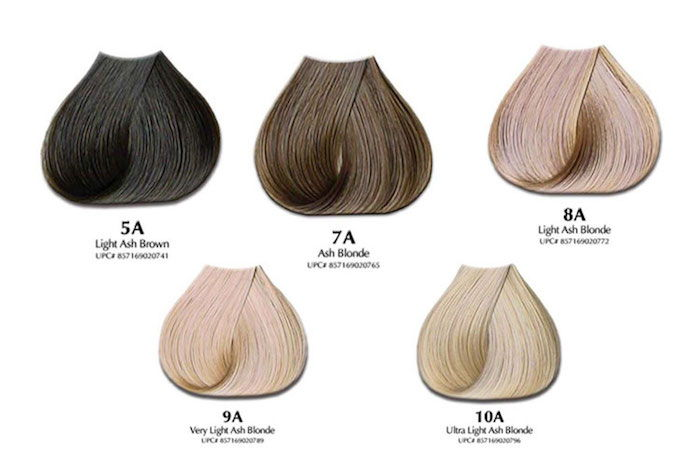 Asch nuance of blond and brown, hair color palette, artificial hair