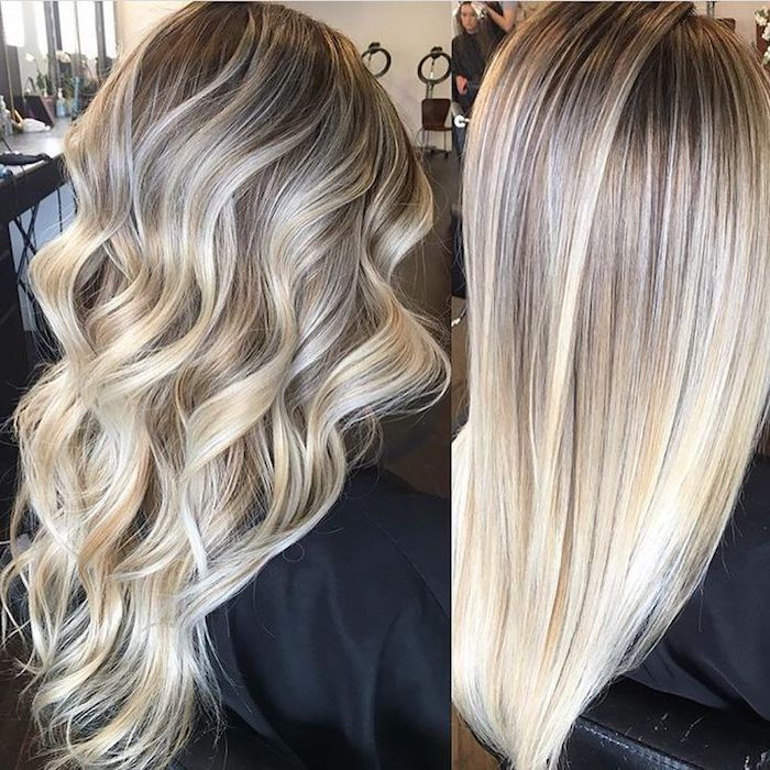 Aschenblond, ombre blond, long hair with curls, straighten hair