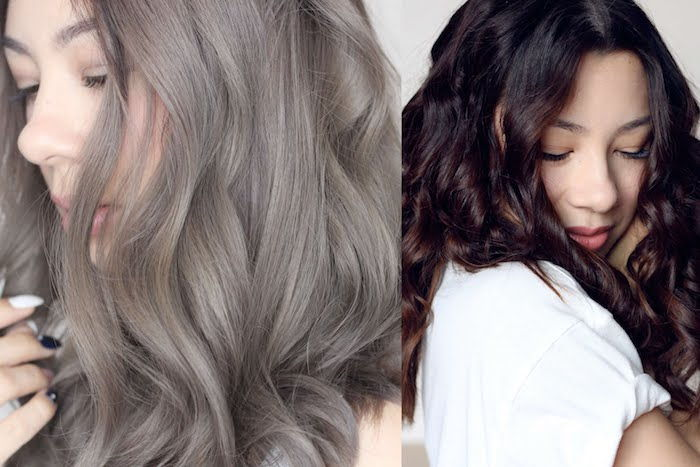 Asian woman with gray curly hair, Asian woman with dark brown chocolate hair color