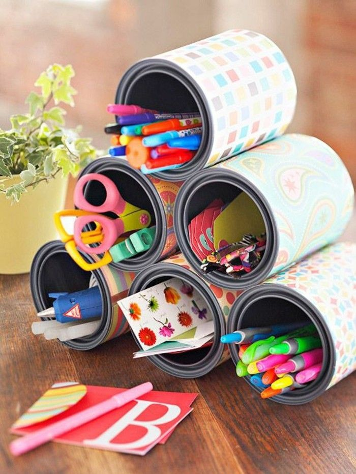 1-make-creative-craft ideas-tin cans Colorful-paper-scissors-pencils-stifehalter-yourself
