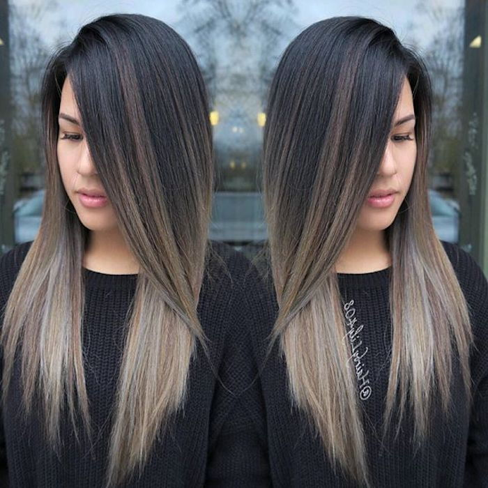 cool gray and blonde hair tips with a dark neck, women's sweater