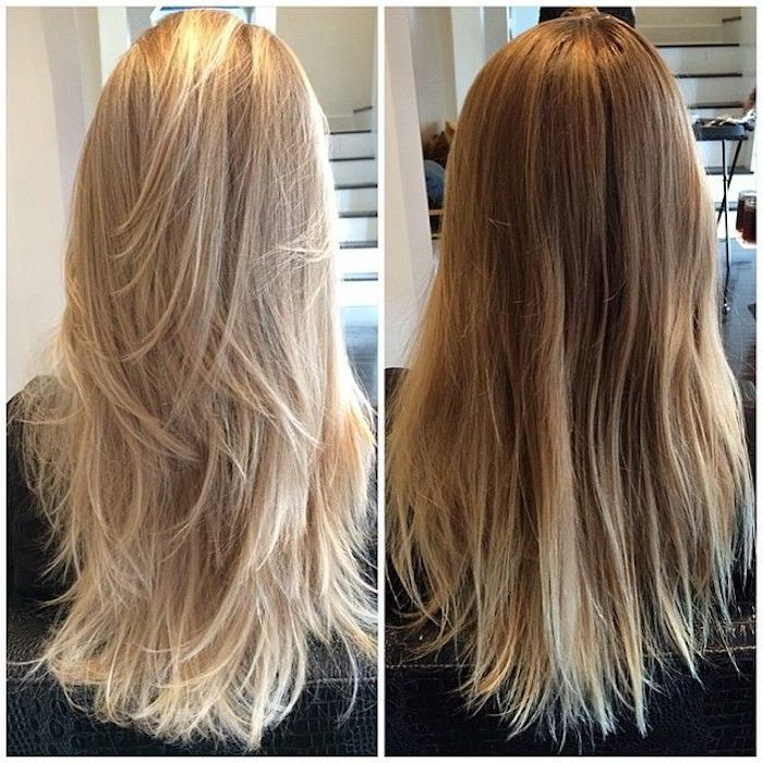 two hairstyles for blonde hair, cool blonde, warm blonde, hair blow dry
