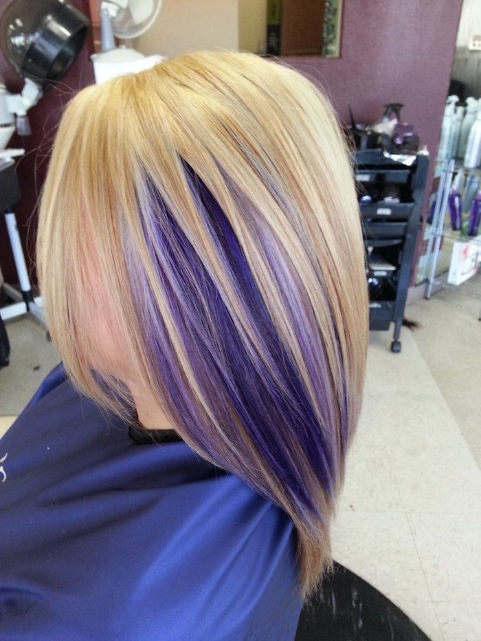 Golden blond with purple strands, blond-purple hair, hairdresser, free falling strand