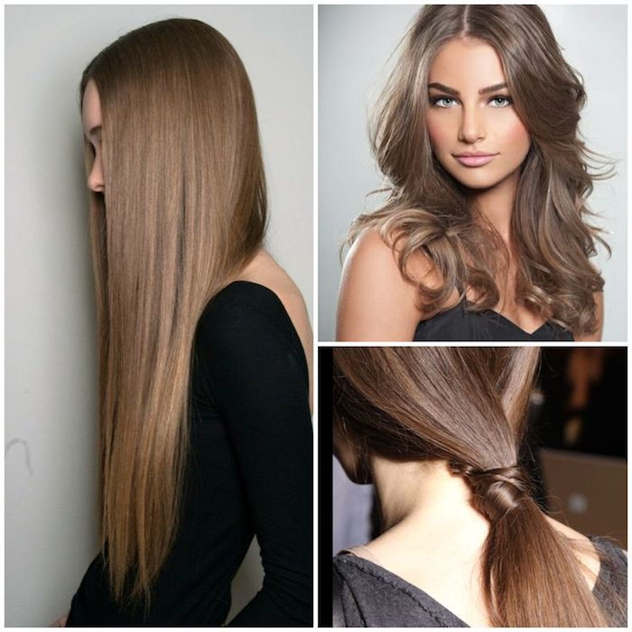 three different hairstyles for long hair, ponytail, black dresses