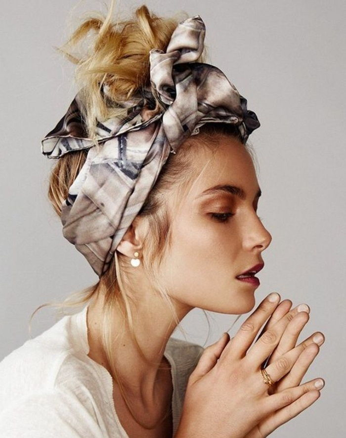 bandana hairstyles - blonde hair, updo, everyday hairstyle