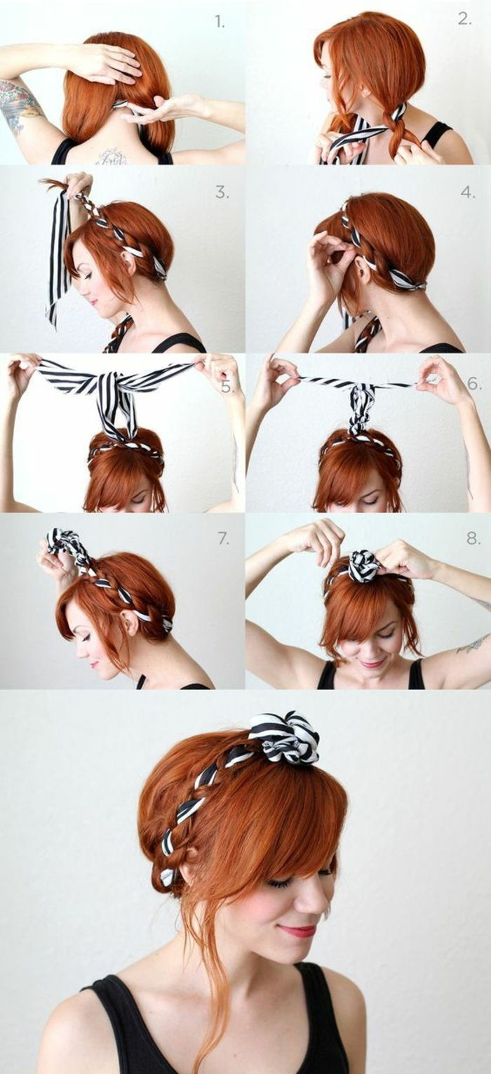 bandana hairstyles - lady with red hair and updo with striped hair towel