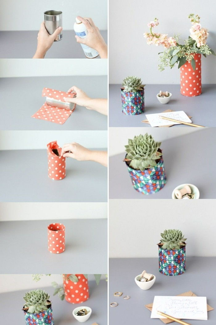 4-creative-Bastelideen-tin-colored paper-and-pencil floral-green-plant-spray