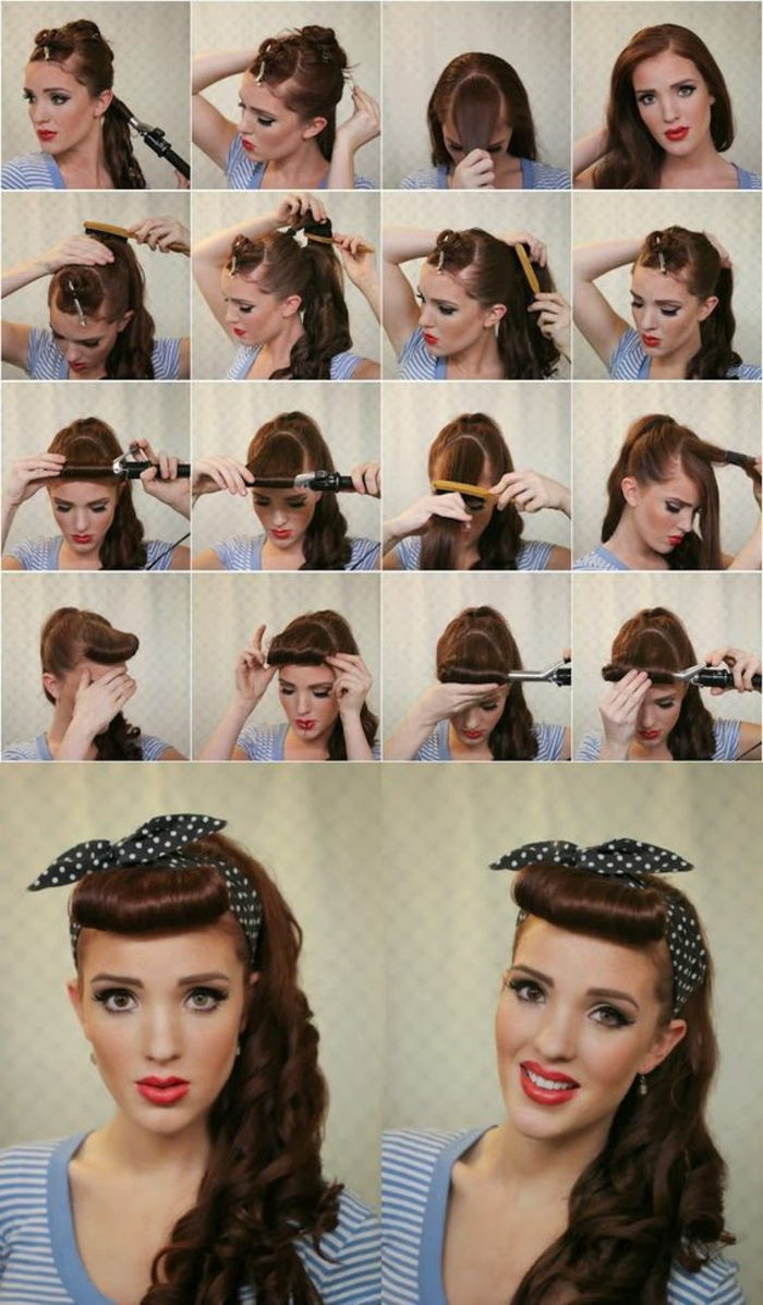 bandana hairstyles - long, curly hair, black dotted hair towel