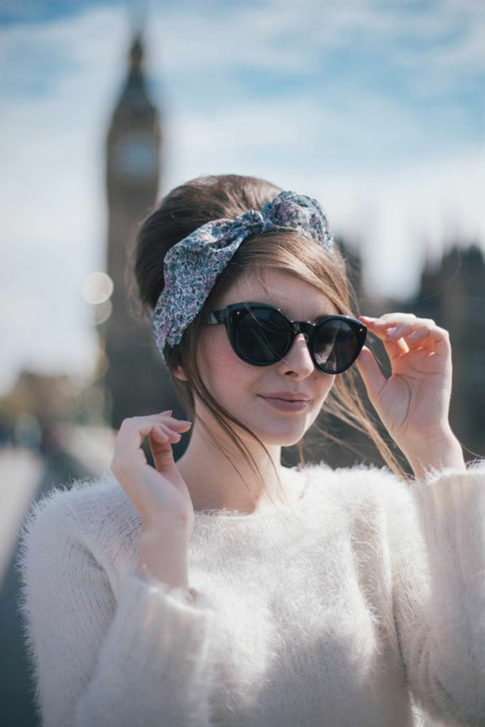 lady with white blouse, big sunglasses and hairstyle in retro style