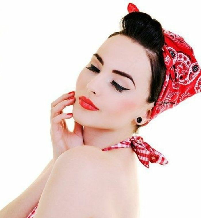 Bandana hairstyles - red kerchief with paisley pattern, black, hair, retro style
