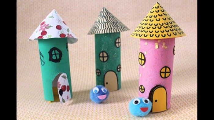 Craft Ideas-with-toilet paper rolls Colorful houses
