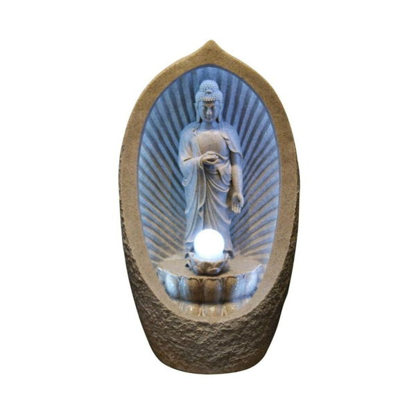 Buddha Fountain with-blue-light