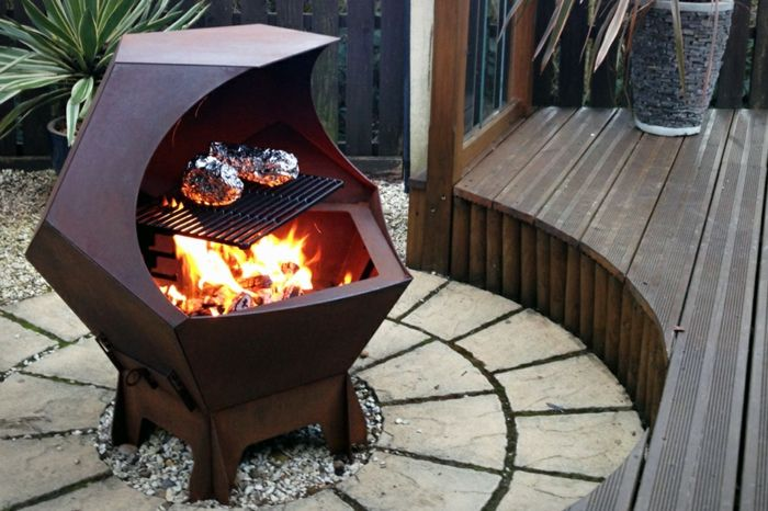 Fire shell with Grill and-fire-on-veranda