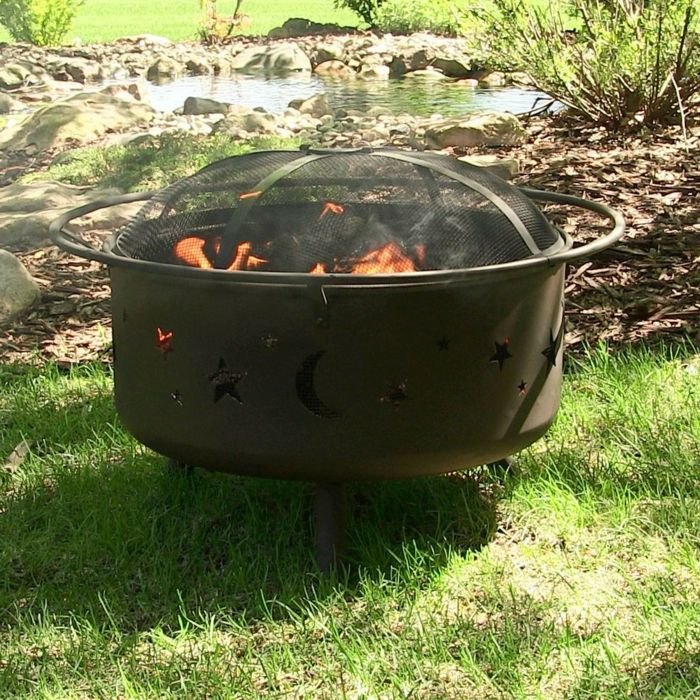 Fire bowl-with-grill outdoors