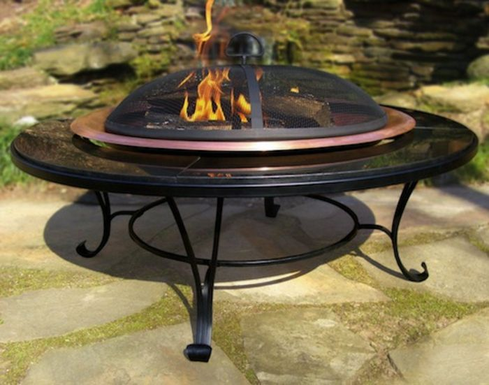 Fire bowl-with-Grill-in-garden-and-fire