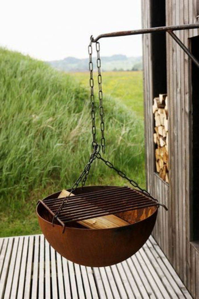 Fire bowl-with-grill rural