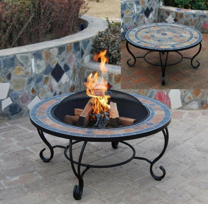 Fire bowl-with-grill mozaik-and-table