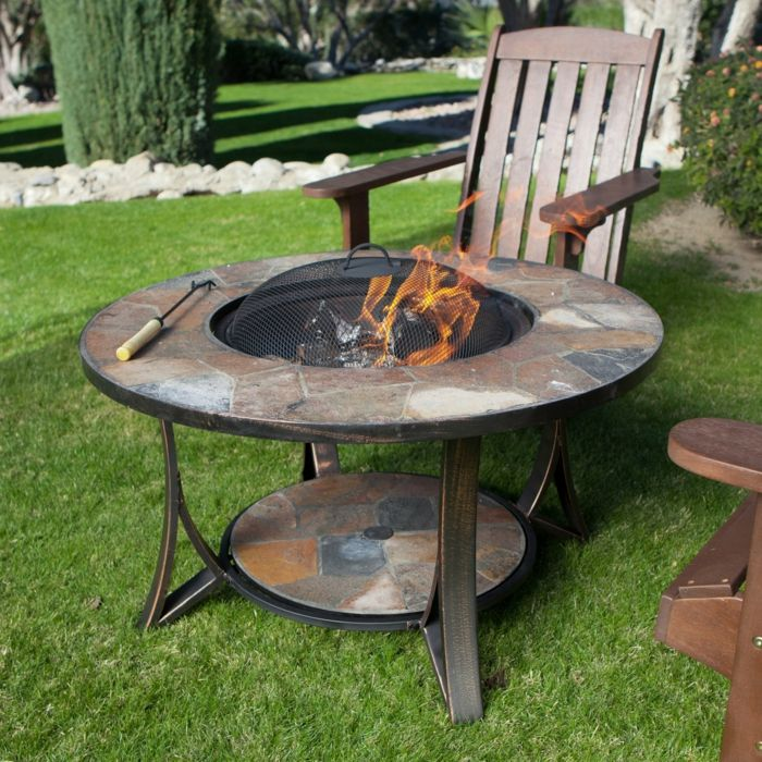 Fire bowl-with-grill mozaik-chairs-from-wood
