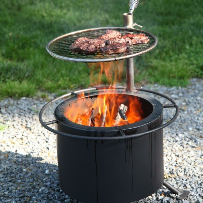 Fire bowl-with-natural-stone grill-grass