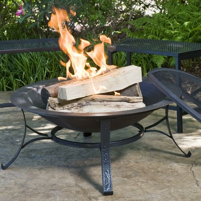 Fire bowl-with-grill-black-rustic exterior