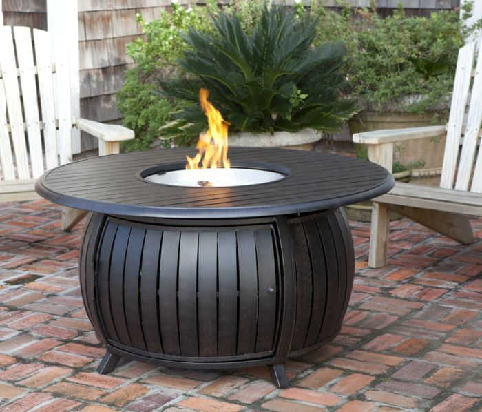 Fire shell with grill and-table-with-storage space