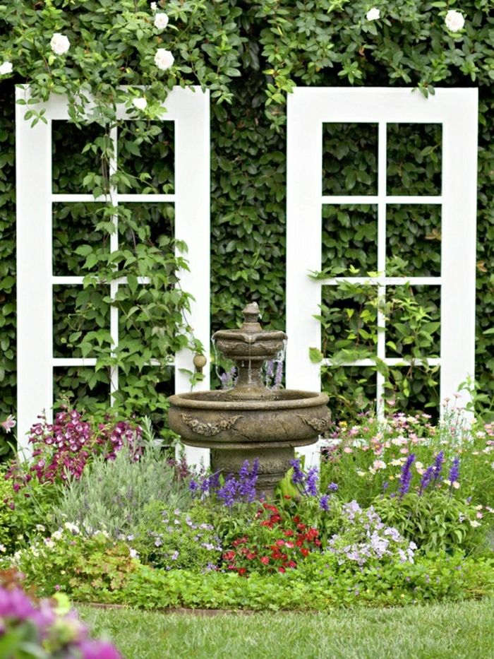 Garden Flowers old window frames water fountain