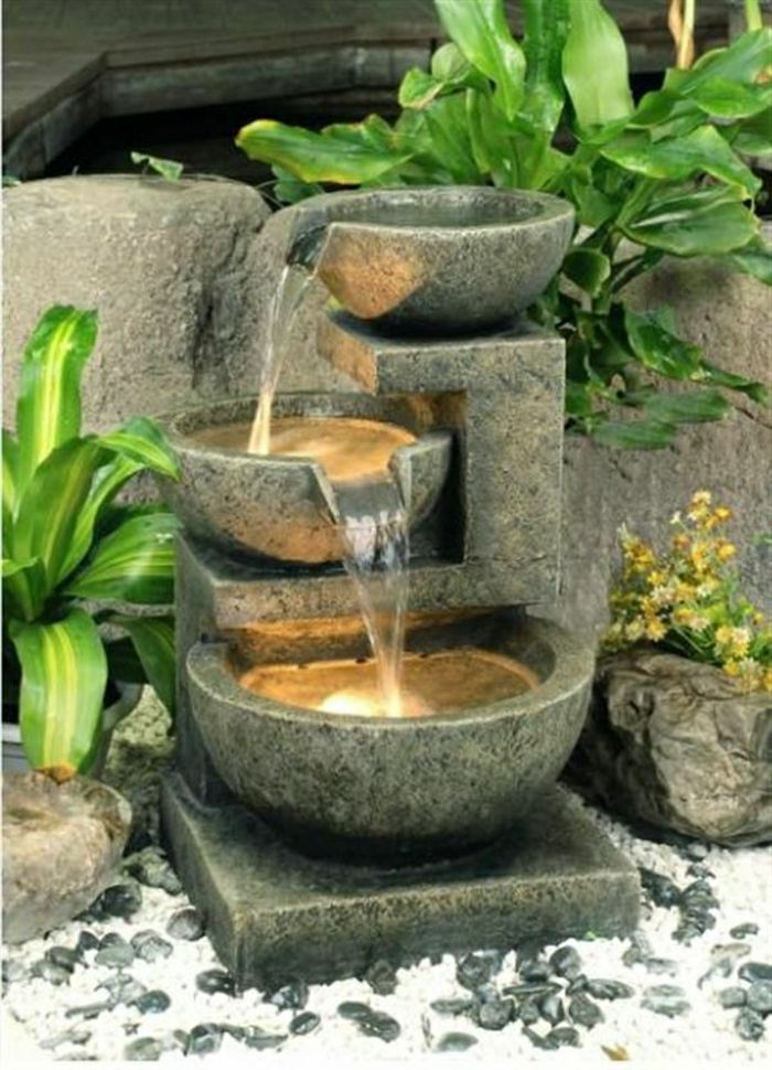 Garden Fountain three Bowl plants