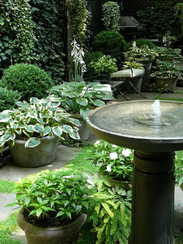 Garden plant pots water fountain