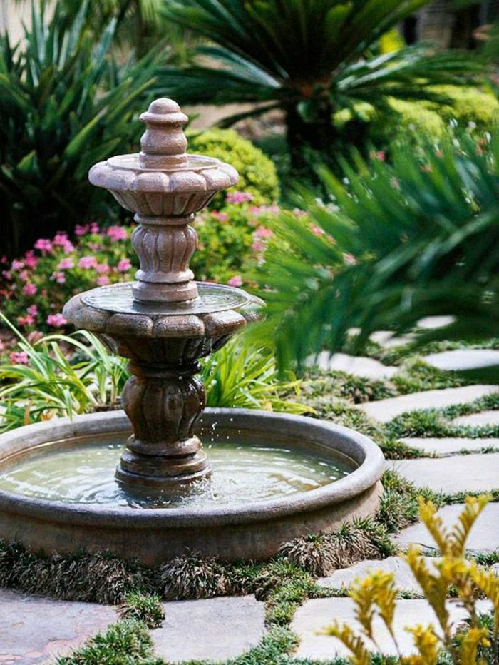 Garden plants water fountain