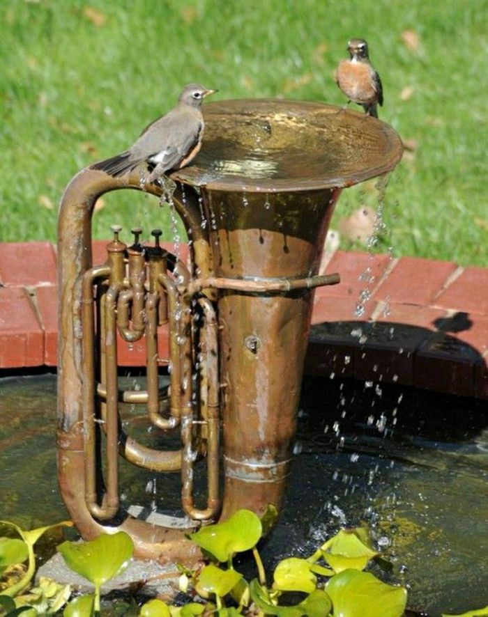 Garden Tuba Fountain Birds