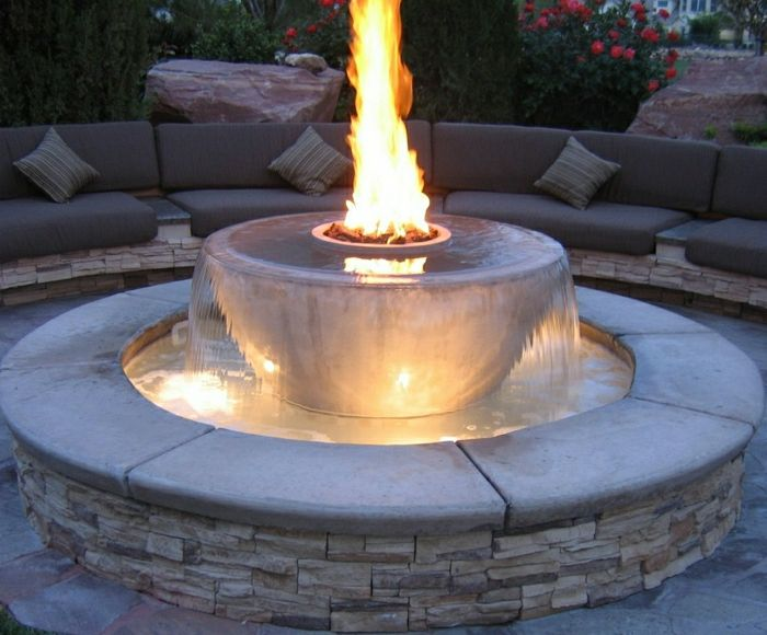 Garden Water Fountain Fire Stone facade sofas-pillows