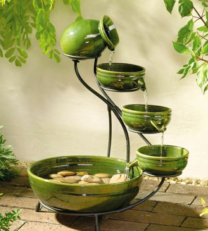 Garden Fountain pottery green decorative stones