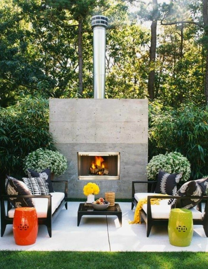 Landscaping lounge furniture-fireplace-with-schörnstein