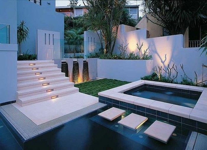 Garden design-modern-with-pool-and-rear lighting