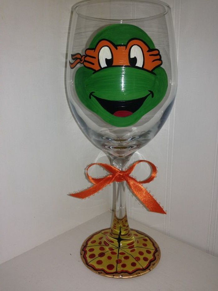 Glass with Funny Decoration inspired-by Ninja Turtles