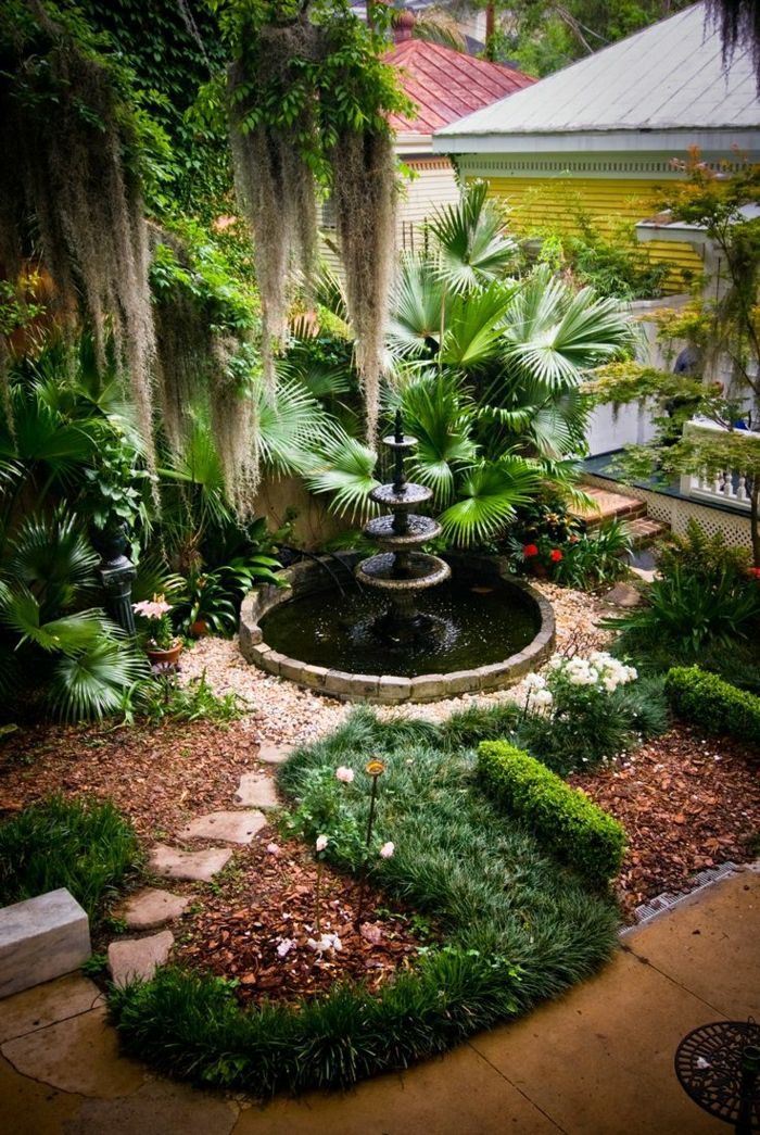 House Garden Palm Flower shrubs Garden Fountain