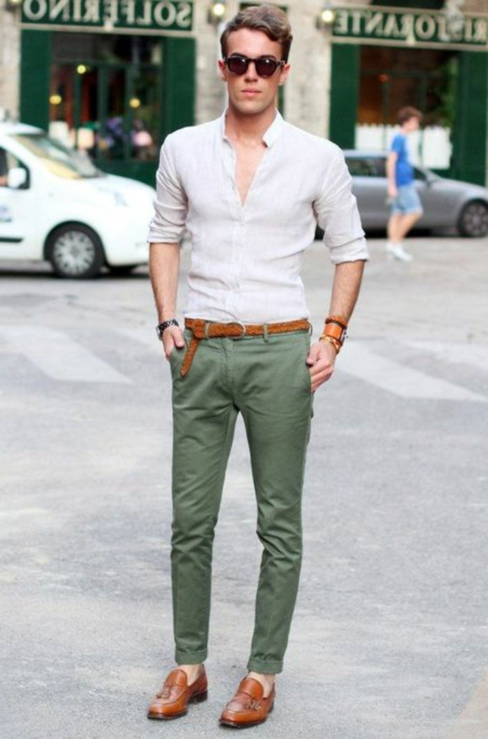 Man elegant clothes Green Pants elegant hipster glasses