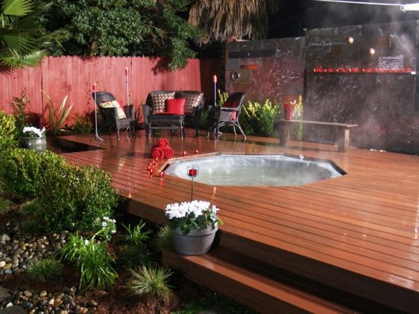 -Modern garden-with-a-jacuzzi-framing hot tub in the garden