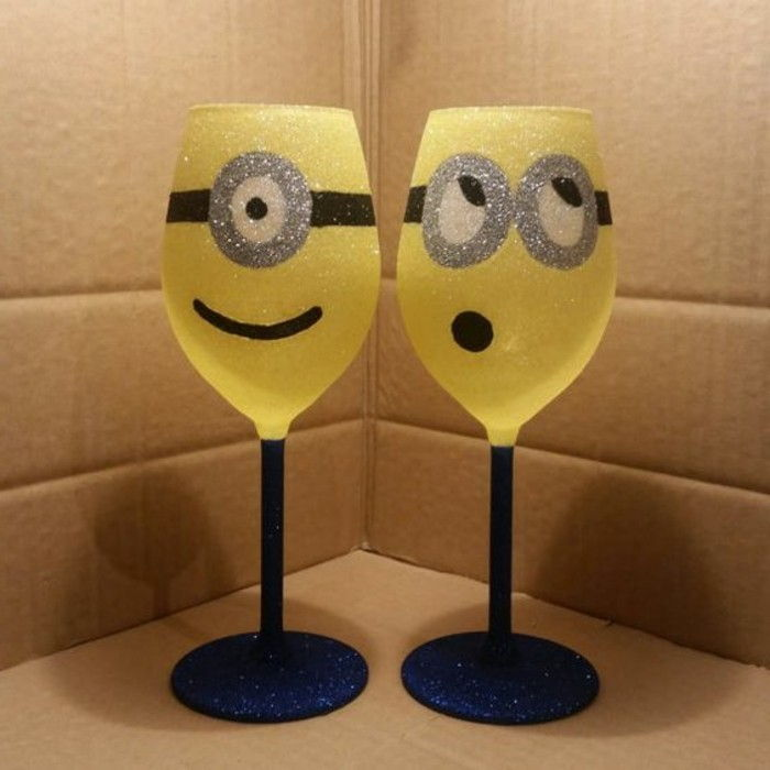 Red wine glasses-decorated-as-the-Minions Funny creative idea