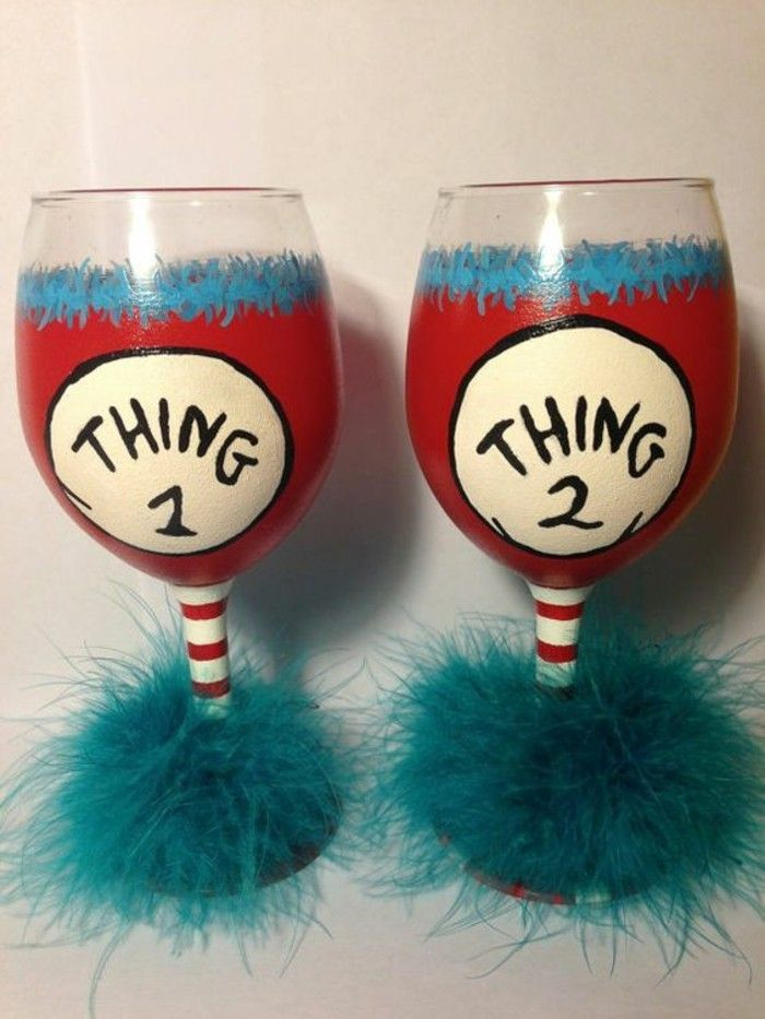 Red wine glasses-with-funny-coquettish decoration