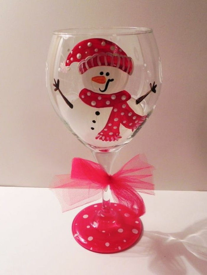 Red wine glass with Funny Handmade Christmas decoration