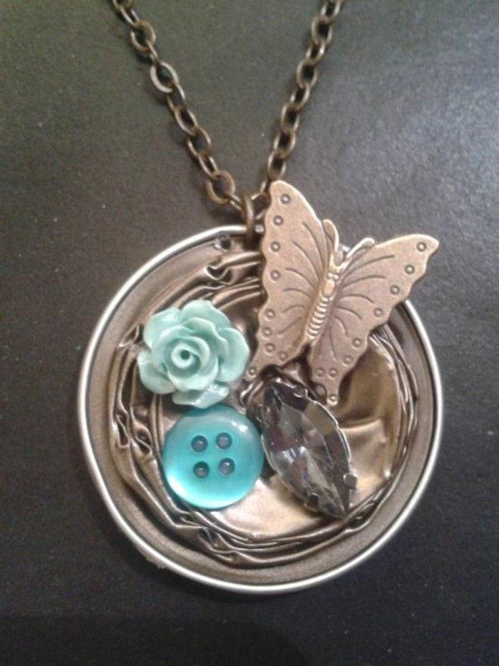 jewelry from coffee capsules butterfly-rose-and-button as Ornament