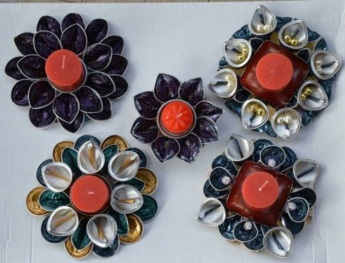 jewelry-from-nespresso capsules-as-flowers-with-red-candles-in-the-middle