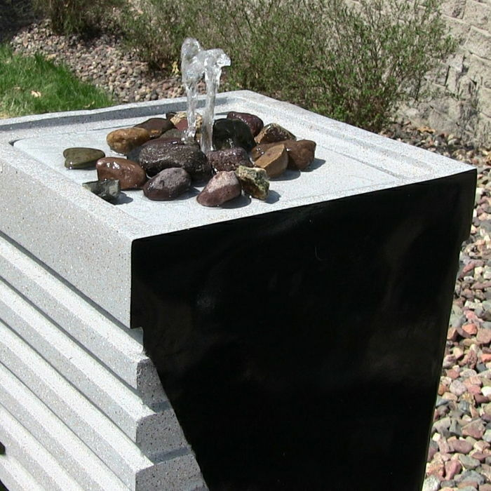 Solar garden fountain-tower design modern decorative stones