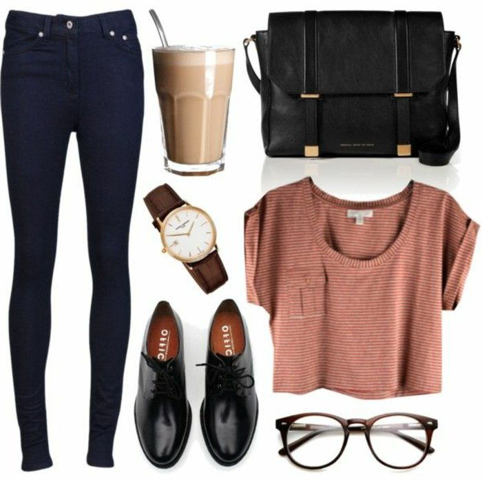 Street fashion women daily clothes-jeans-top oxford shoes-classical model o'clock cappuccino big-black-bag-nerd-glasses