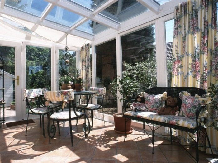 veranda-conservatory-bistro table-bench-curtains-with-flowers-prints