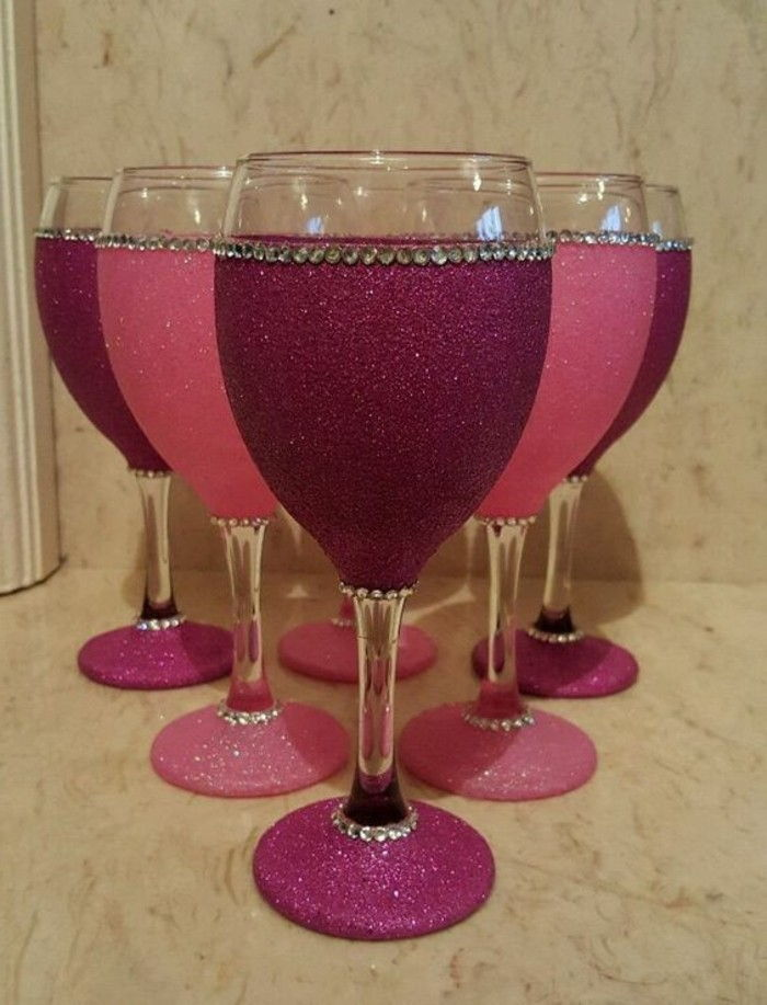 Wine glasses-with-charming Decoration much glitter stones