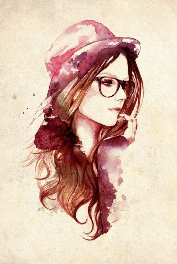 Drawing Hipster Glasses Hat woman