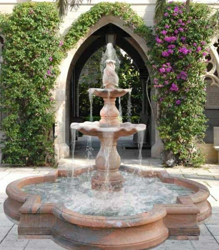 aristocratic Garden Fountain creeping flowers