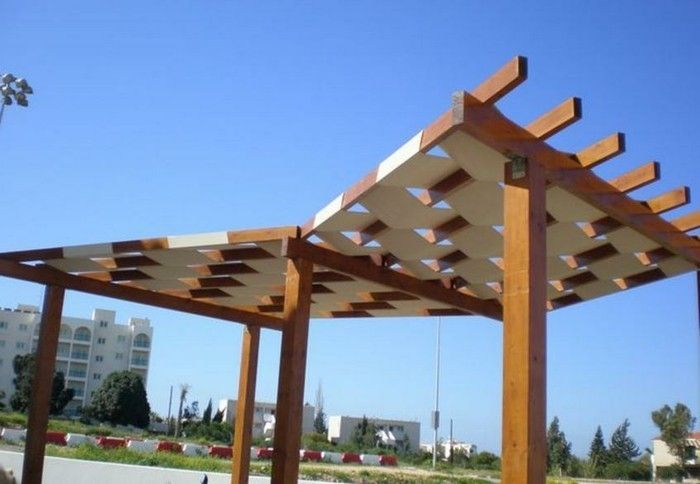 attractive-design-pergola-of-wood-blue-sky